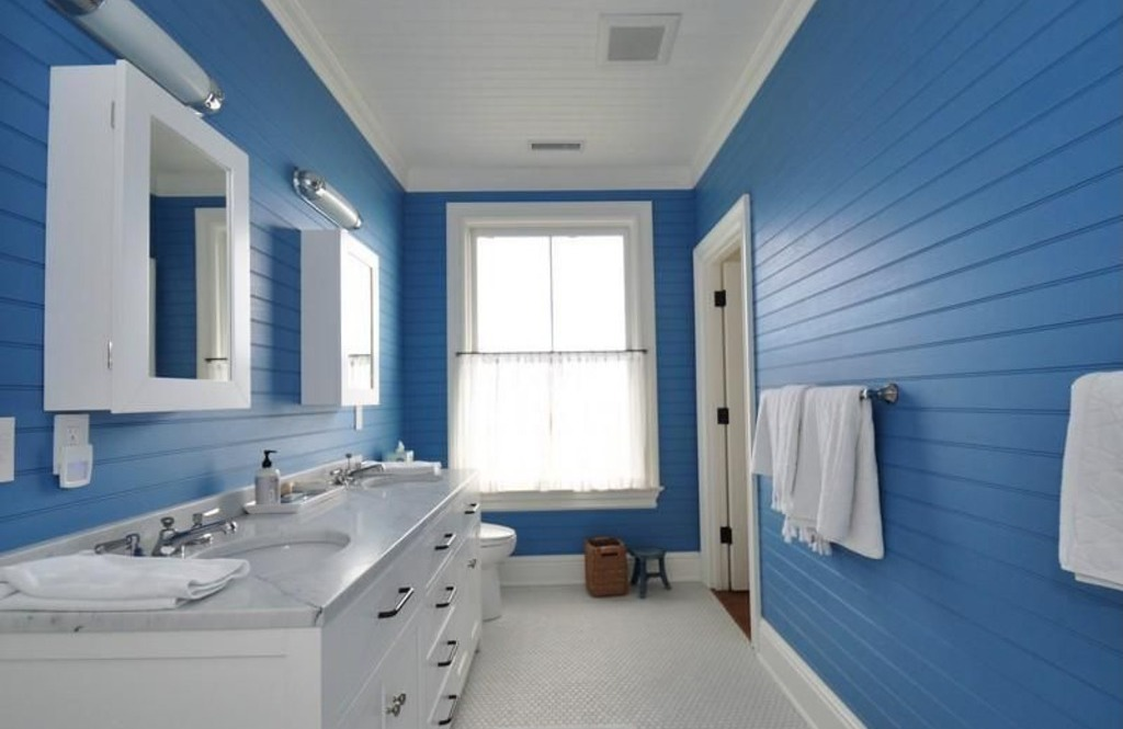 Gray and blue bathroom