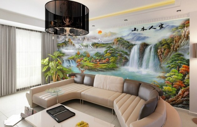 Wall design for drawing room