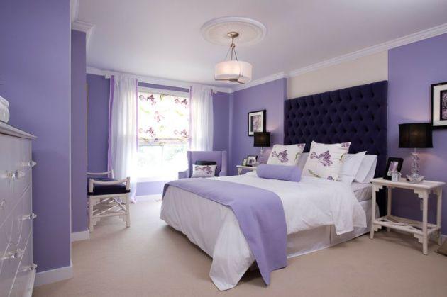 Фото: элегантный сиреневый цвет в интерьере спальни