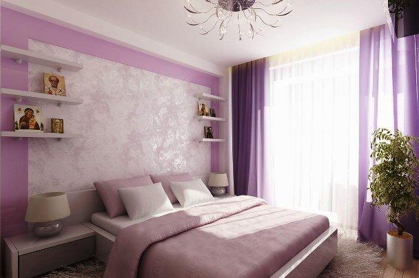 Фото: вариант зонирования изголовья кровати