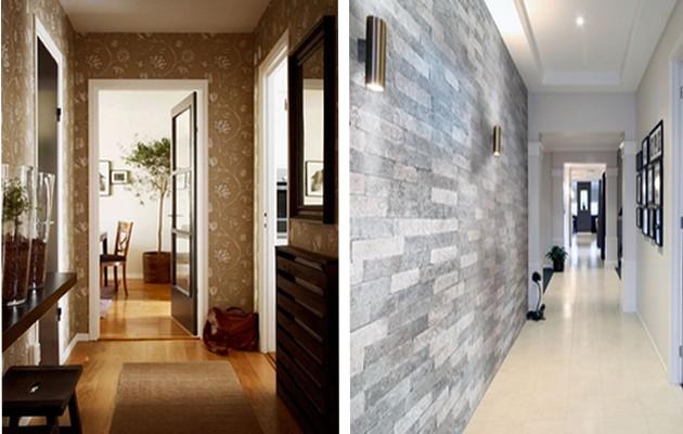 Фото: отделка стен моющимися обоями и декоративным камнем