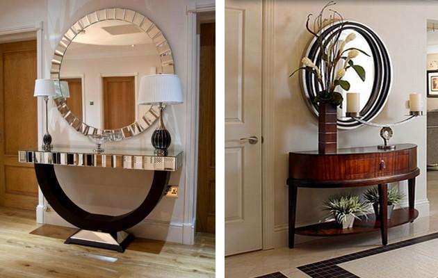 Фото: большие оригинальные зеркала в интерьере прихожей