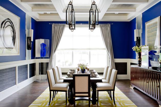Фото: столовая, оформленная ярко-синим цветом
