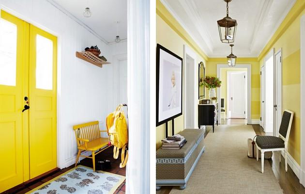 Фото: ярко-желтая дверь поможет вам визуально увеличить прихожую