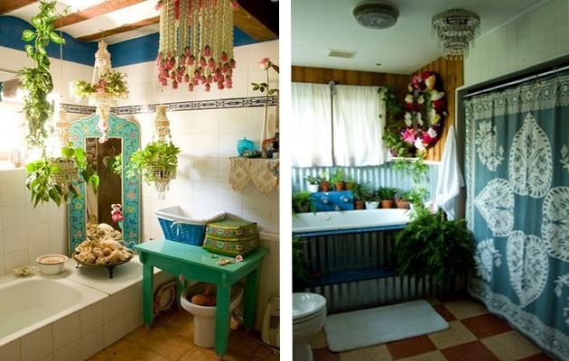 Фото: декорирование ванной живыми растениями