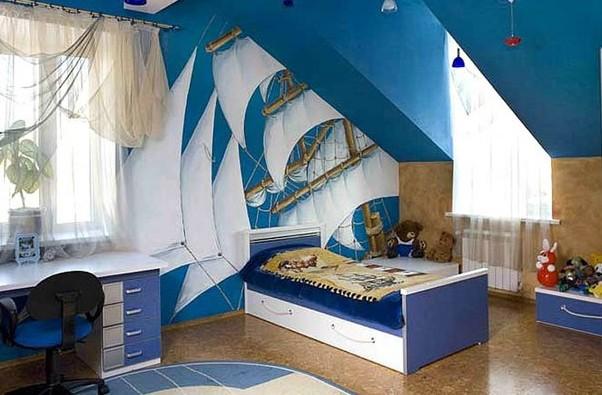 Фото: детская в морском стиле на мансарде