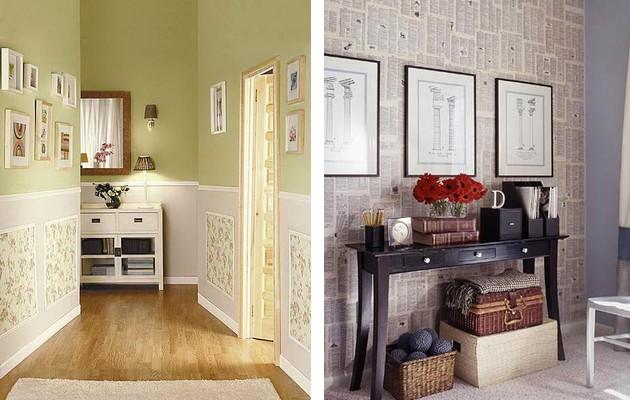 Фото: декорирование стен обойными вставками и картинами