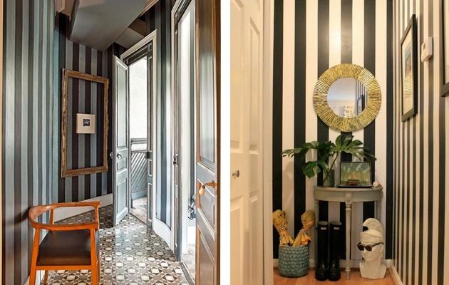 Фото: визуальное увеличение высоты комнаты при помощи полосатых обоев