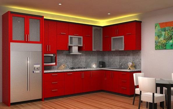 Фото: светодиодная подсветка потолка в интерьере красной кухни