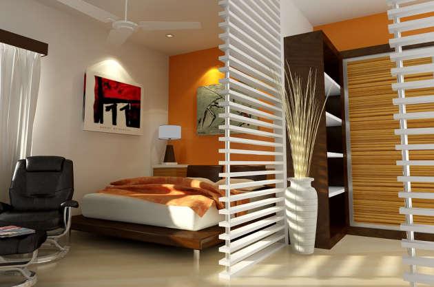 Фото: спальня, совмещенная с гостиной