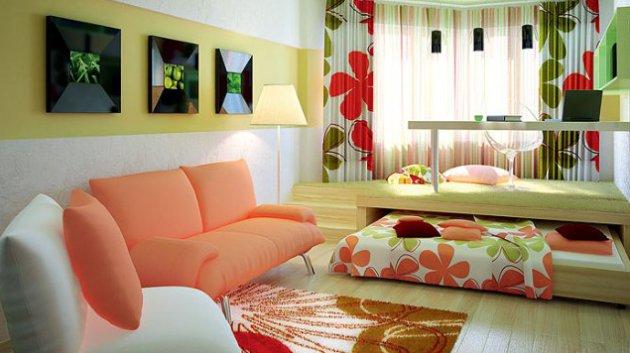 Фото: размещение рабочего места на подиуме с выдвижным спальным местом станет наилучшим решением для маленьких квартир