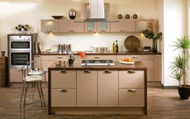 Фото: растения в интерьере кухни цвета капучино