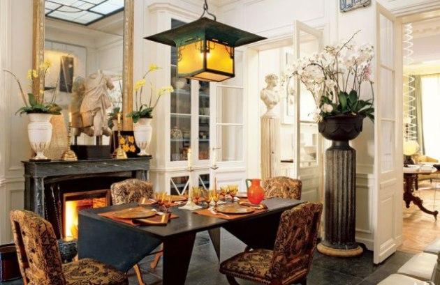 Фото: декорирование столовой живыми цветами