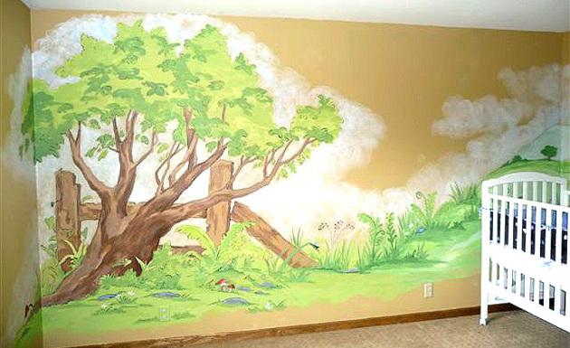 Фото: фреска в интерьере детской комнаты