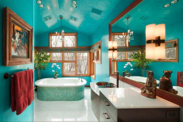 Фото: бирюзовый цвет в ванной поможет создать вам атмосферу с освежающим морским бризом и чистым воздухом