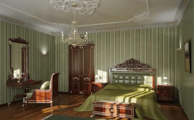 Фото: грамотный выбор обоев для спальни классического стиля
