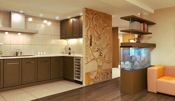 Фото: зонирование кухни и гостиной аквариумом