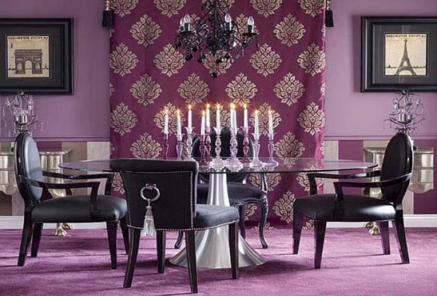 Фото: стеклянный стол в интерьере столовой фиолетового цвета
