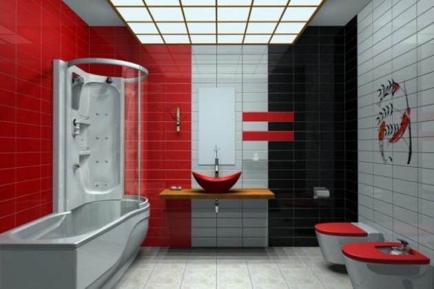 Фото: грамотное сочетание красного и черного поможет вам добавить оригинальности в интерьер помещения