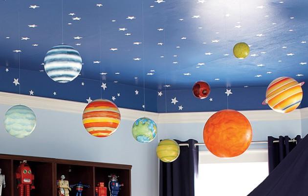 Фото: дизайн потолка для маленьких любителей космоса