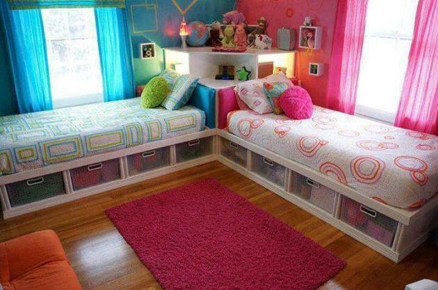 Фото: Г-образное расположение кроватей