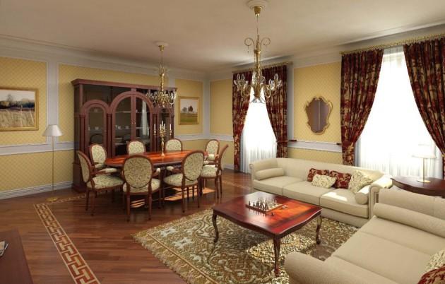 Фото: гостиная в классическом стиле, совмещенная со столовой