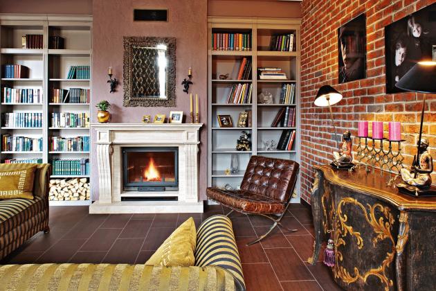 Фото: сочетание стен с различными материалами отделки в одной комнате