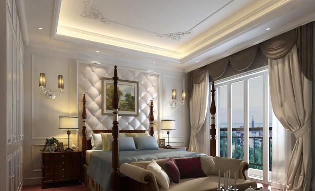 Фото: настенные светильники в интерьере спальни классического стиля