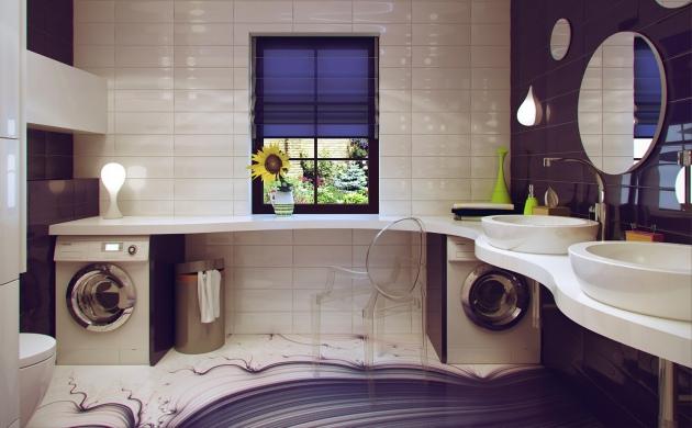 Фото: фиолетово-коричневая палитра наиболее удачна для оформления ванной комнаты