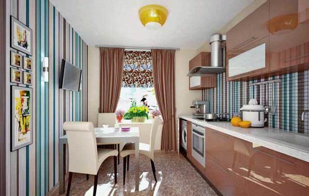 Фото: бумажные комбинированные обои в интерьере маленькой кухни