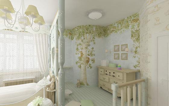 Фото: роспись стен в интерьере детской стиля прованс