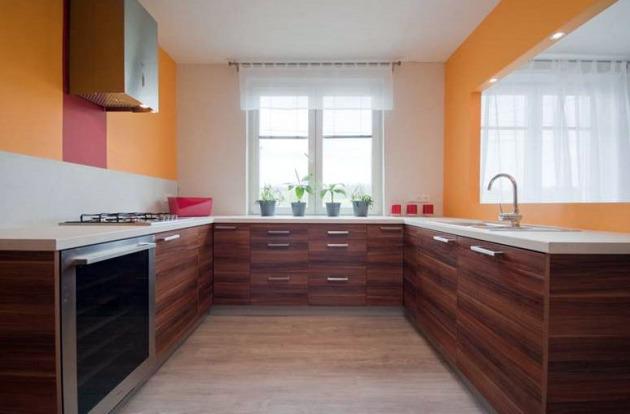 Фото: п-образное размещение кухни