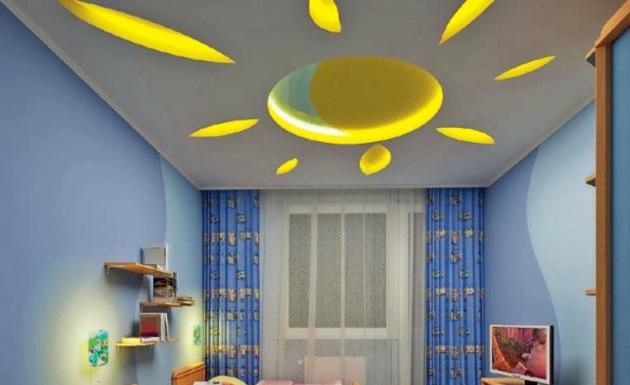 Фото: оригинальный дизайн потолка в детской комнате