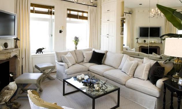 Фото: римские шторы в интерьере гостиной стиля арт-деко