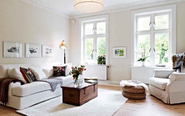 Фото: помещение в скандинавском стиле не нуждается в шторах и занавесках