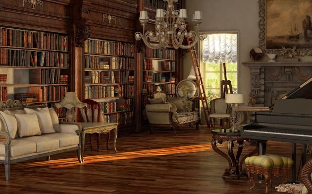 Фото: неотъемлемой частью интерьера в викторианском стиле являются стеллажи, наполненные книгами