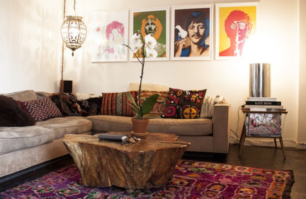 Фото: одной из основных особенностей стиля бохо является дополнение предметов интерьера своим собственным творчеством
