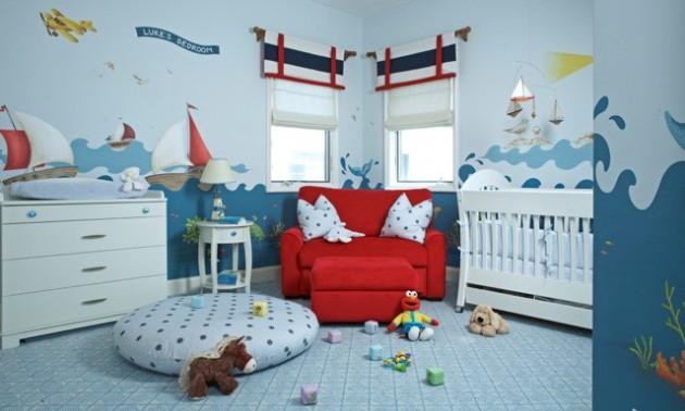 Фото: обои в интерьере комнаты для новорожденного