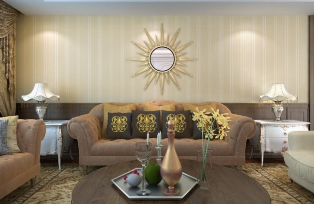 Фото: обои с вертикальной полоской помогут вам визуально увеличить комнату