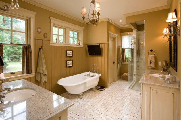 Фото: ванная в карамельных тонах поможет создать расслабляющую атмосферу