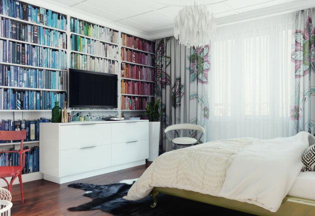 Фото: книжные полки в интерьере спальни