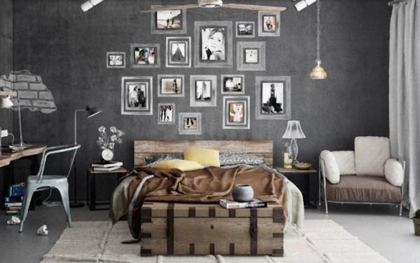 Фото: декорирование стены черно-белыми фото