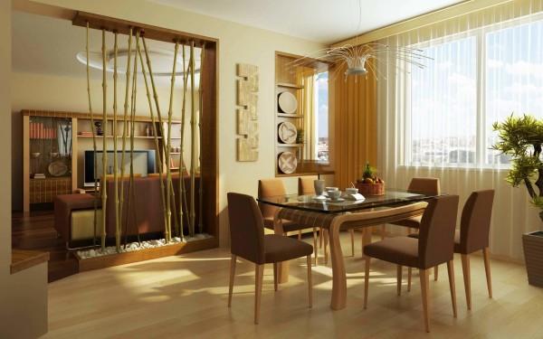 Фото: перегородка из стеблей бамбука между столовой и гостиной