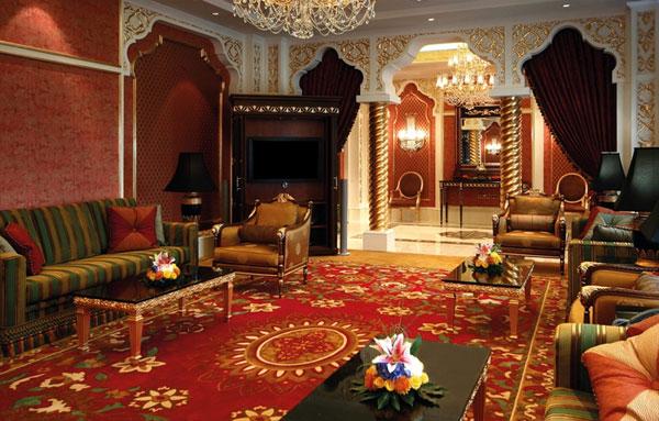 Фото: арочные конструкции с позолотой подчеркнут богатство арабского стиля в интерьере