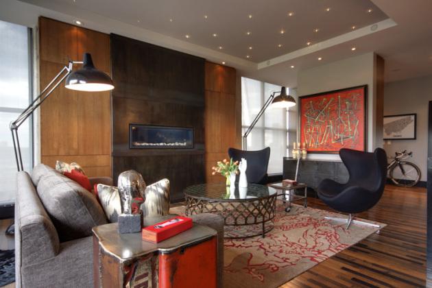 Фото: многоуровневый потолок в интерьере гостиной