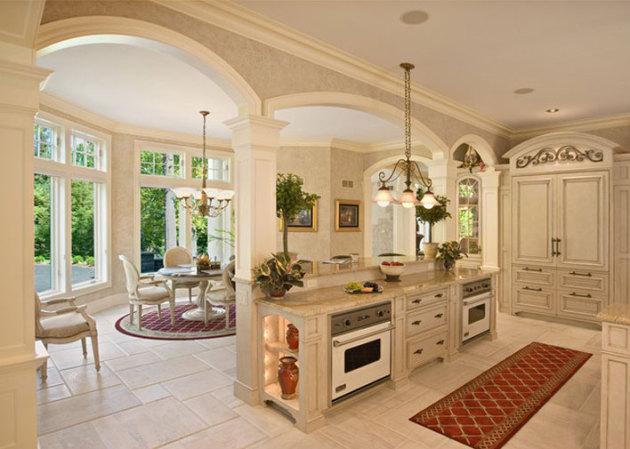 Фото: отделка пола плиткой на кухне