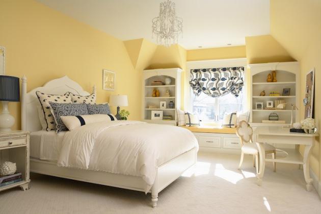 Фото: отделка стен пастельным желтым цветом