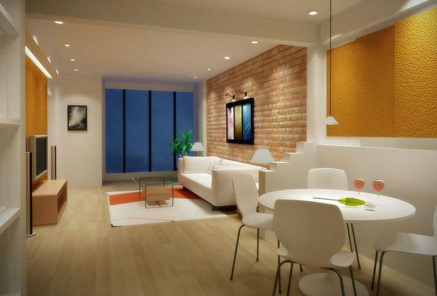 Фото: зонирование комнаты многоуровневым потолком