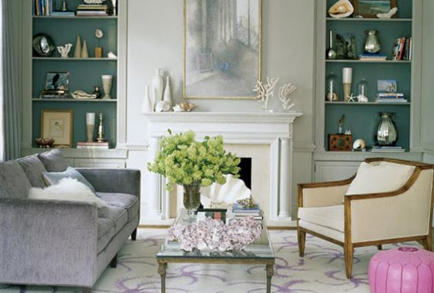 Фото: украшение гостиной живыми цветами