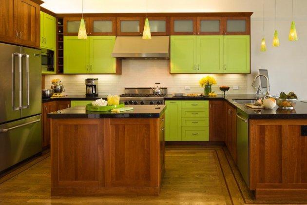 Фото: мебель в светло-коричневых тонах вкупе с салатовым создадут атмосферу уюта и комфорта